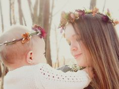 Woodland Flower crown Mother Baby infant photo shoot by AmoreBride