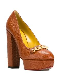 Charlotte Olympia | Chain-embellished Camel Leather Platforl Pumps - New In