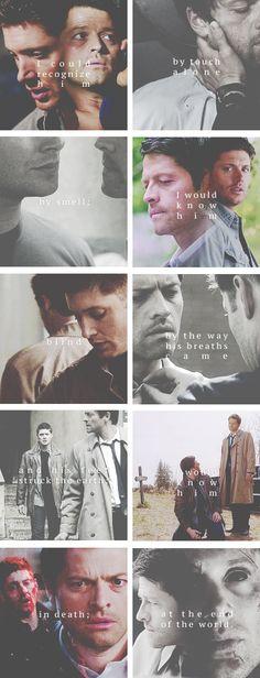 Dean + Castiel: I need you;             I miss him. #spn #destiel