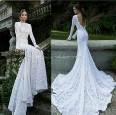 Replica - 2014 popular element Lace Mermaid Wedding Dresses High Collar Sexy Backless Long Sleeve Chapel Train Bridal Gown Berta style collection