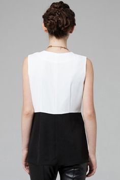 #Romwe Contrast Color Black-white Vest