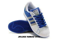 the best attitude 4edba 57df2 Femme Dernière Tendance - Adidas Superstar Ii Originals Blancs Orteils  Shell Bleu