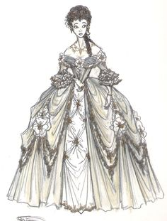 """""""Beauty And The Beast"""" concept art. Gorgeous image of Belle dressed up in her ball gown, with that unnerved look on her face. All sorts of fanfic ideas popping up..."""