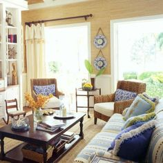 Key West Living Room with Blended Furnishings < Key West Style Interiors and Homes - Coastal Living