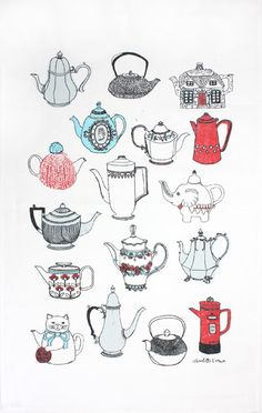 Always Warm The Pot tea towel by Charlotte Farmer, sold by ToDryFor.com