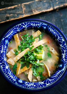 Mexican Chicken Lime Soup (Sopa de Lima) ~ Yucatan chicken soup, with tomato, habanero, tortilla strips, and lime. ~ SimplyRecipes.com