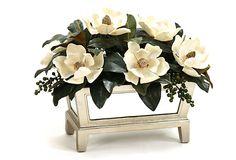 Magnolias in Mirrored Planter.....pretty planter:)