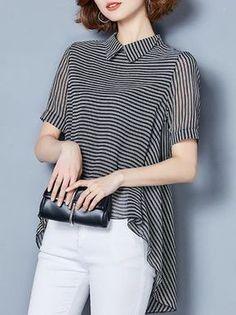 Black Chiffon Asymmetric Striped Blouse - Imgram Pin to Pin Blouse Styles, Blouse Designs, Mode Top, Mode Hijab, Chiffon Shirt, Short Sleeve Blouse, Blouses For Women, Ideias Fashion, Fashion Dresses
