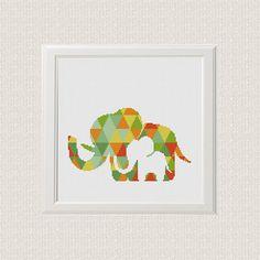 Geometric elephant Cross Stitch pattern modern elephant