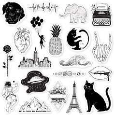 RipDesigns - 20 Black and White Stickers for Water Bottles, Laptops (Series Cute Laptop Stickers, Phone Stickers, Journal Stickers, Cool Stickers, Scrapbook Stickers, Printable Stickers, Planner Stickers, Black And White Stickers, Homemade Stickers