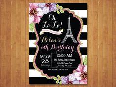 Invitación de cumpleaños de Paris. Invitación de la Torre