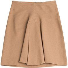 Derek Lam A-Line Skirt (700 BRL) ❤ liked on Polyvore featuring skirts, camel, camel a line skirt, beige skirt, derek lam skirt, a-line skirt and camel skirt