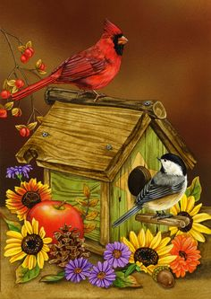 Toland Home Garden Autumn Melody 28 x 40-Inch House Flag.  Can't you just hear the cardinal whistling and the chickadee chick-a-dee-dee-deeing?!  So sweet!