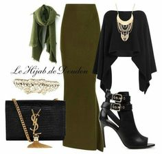 A fashion look from November 2015 featuring Donna Karan, Haider Ackermann and high heel booties. Browse and shop related looks. Hijab Fashion 2016, Modest Fashion, Look Fashion, Fashion Outfits, Hijab Style, Hijab Chic, Islamic Fashion, Muslim Fashion, Hijab Dress