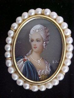 Antique 18K Gold Italy Hand Painted Signed Miniature Portrait Cameo Brooch Pearl | eBay