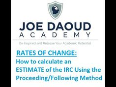 In this video Joe goes over the process of calculating an estimation of the Instantaneous Rate of Change (IRC) using a computational process: The proceeding/. Math Tutor, Algebra, Calculator