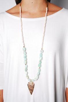 Gold Arrowhead Necklace $72 www.cheekypeachathens.com