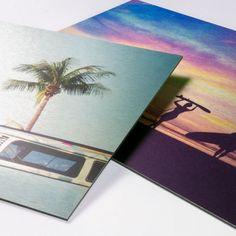 Foto op geborsteld aluminium. Geschikt voor binnen- en buitengebruik. Creëer bijzondere effecten met witte inkt. Prints