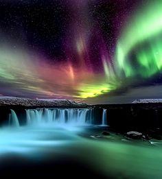 Aurora over Waterfalls #BeautifulNature #Waterfalls #NaturePhotography #Nature…