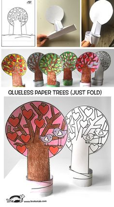 children activities, more than 2000 coloring pages Trees For Kids, Art For Kids, Winter Crafts For Kids, Spring Crafts, Paper Towel Roll Crafts, Paper Crafts, Mushroom Crafts, Snail Craft, Spring Coloring Pages