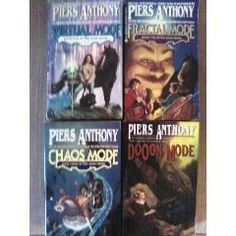 The Mode Series by Piers Anthony.  --Book 1 of 4: Virtual Mode  --Book 2 of 4: Fractal Mode  --Book 3 of 4: Chaos Mode  --Book 4 of 4: DoOon Mode