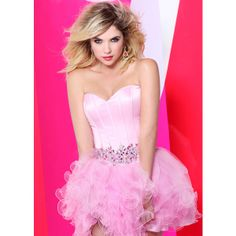 Faviana 7189 – Strapless Barbie Pink Short Prom Dress Online ❤ liked on Polyvore