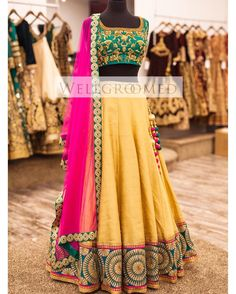 WIM Enjoyed and Liked on instagram from wellgroomedinc: Take a look at this beautiful vibrant lehenga from our new collection! This stylish gold raw silk lehenga is paired with an emerald green fully embroidered top and complimented by a hot pink soft net dupatta! A fun and flirty piece perfect for any occasion!! Are you looking for the bridal outfit of your dreams? Or that showstopping party wear piece? Email us at sales@wellgroomed.ca to set up a consultation with one of our fashion…