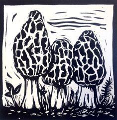 Morel mushrooms linocut print