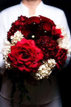 WANT - large paper flower bouquet from thecrimsonpoppy.com - hydrangeas in deep wine red and ivory, oriental poppies in deep wine red, peonies in ivory, ivy vines, and roses and duchess rose hand-dyed in wine red