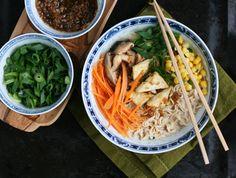 Comforting bowl of Japanese ramen noodles with panfried tofu, shiitake mushrooms, and vegetables. Learn how to make vegan ramen broth from scratch. - by Maikin mokomin #vegan