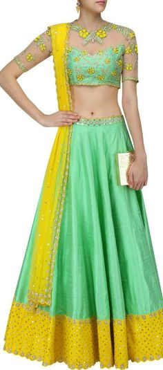 Green and yellow floral embroidered sheer blouse and lehenga set available only at Pernia's Pop Up Shop. Lengha Choli, Silk Lehenga, Anarkali, Sarees, Choli Designs, Blouse Designs, Dress Designs, Indian Dresses, Indian Outfits