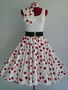 "ROCK N ROLL/ROCKABILLY ""Cherries"" SKIRT & SCARF M-L  Ivory/Red. #MensWomensDancewear"