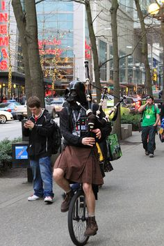 Darth Vader riding a unicycle playing bagpipes in a kilt, your argument is invalid.   Emerald City Comicon 2013 by dustmans, via Flickr