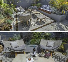 A tiled area is a great way to bring impact to a small space. Garden design by The Garden Builders.