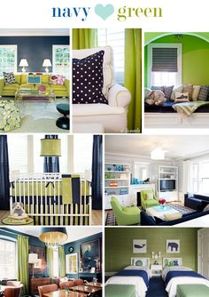 Navy blue and lime green for T's room? Already have the green walls...could modify curtains to add navy stripes.