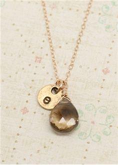 gold smokey drop necklace