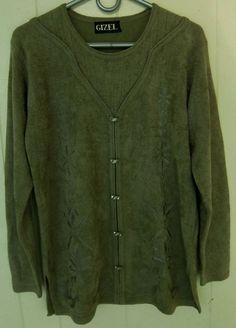 Gizel Women's Size XL Green Chenille Feel Layered Look 1 Piece Long Sleeve Top #Gizel #KnitTop