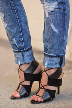 killer shoes and distressed jeans