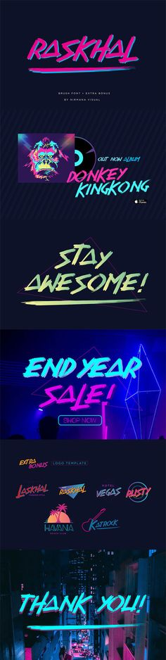 Raskhal Brush Font inspired by and neon lights. It comes in TTF format with Uppercase Character Only. It's perfect logos & branding, watermarks, etc. January Lettering, Hand Lettering Fonts, Script Fonts, Typography, Irish Font, Groovy Font, Graphic Design Fonts, Photography Business Cards, Fonts