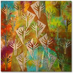 """Patty Hawkins: Textile Artist - Aspen Tree series - These """"no-tan"""" trees are a stylized depiction of the forest's various seasons. I played with these trees---earlier auditioned for background for the SURVIVOR quilt (pictured above)---where they seemed  frivolous."""