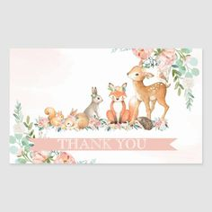 Baby Shower Thank You, Baby Shower Favors, Forest Animals, Woodland Animals, Virtual Flowers, Flower Shower, Art Drawings Sketches Simple, Forest Friends, Girl Shower