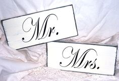 Mr And Mrs  Shabby Chic Distressed Hand by TheShabbyChicShoppe, $26.95