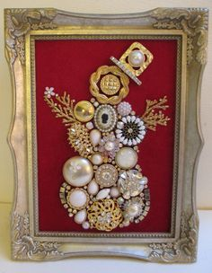Jeweled Framed Jewelry Art Snowman Woman Vintage Red Gold White Detailed Fabulous by audreymivey on Etsy Source by teresalambjames art Costume Jewelry Crafts, Vintage Jewelry Crafts, Vintage Jewellery, Recycled Jewelry, Jeweled Christmas Trees, Jewelry Logo, Pearl Jewelry, Silver Jewelry, Jewelry Tree