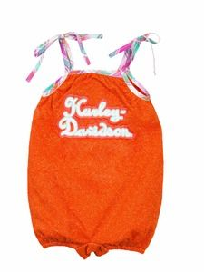 Harley-Davidson® Baby Girl, Terry Romper, Orange.