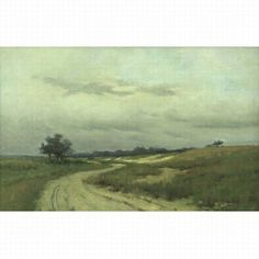 "Untitled (landscape with road through dunes), Arthur Hoeber, oil on canvas, 14 by 22 1/4"", private collection."
