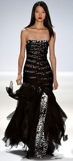 Carlos Miele S/S 2013 black & white leopard strapless gown ... I think I like this just because it is snow leopard
