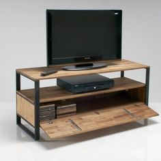 Hiba solid joined walnut and steel tv unit La Redoute Interieurs   La Redoute