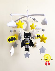 Excited to share this item from my shop: Felt mobile. Hanging mobile with batman. Cot mobile for boy nursery. Boy Mobile, Felt Mobile, Baby Crib Mobile, Batman Baby Room, Batman Nursery, Baby Boy Gifts, Baby Boys, Baby Shower Gifts, Hanging Mobile