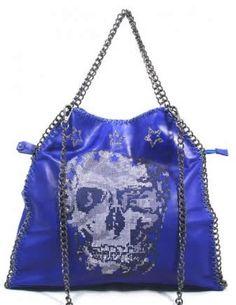 Skull Bag blu con tracolla a catena