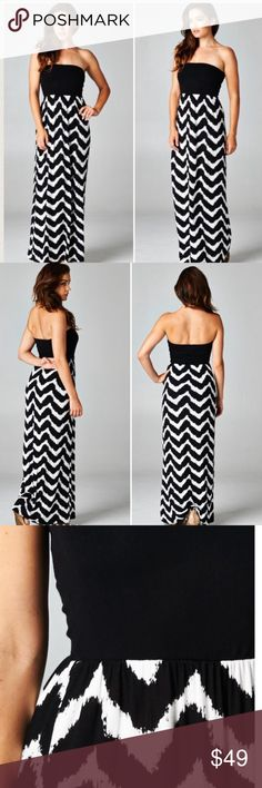 "🎉HP🎉 S-L Essential Maxi Dress Super cute Maxi Dress with solid black top and black/white pattern bottom. Material is 95% Rayon, 5% Spandex and Made in USA! Length is approx 52"" / Small fits 0-4, Medium 6-8, Large 10-14 but is very stretchy, so could fit smaller/larger depending on how you want the fit. Select size at checkout, price is firm. Thx for shopping my closet 💞 Dresses Maxi"